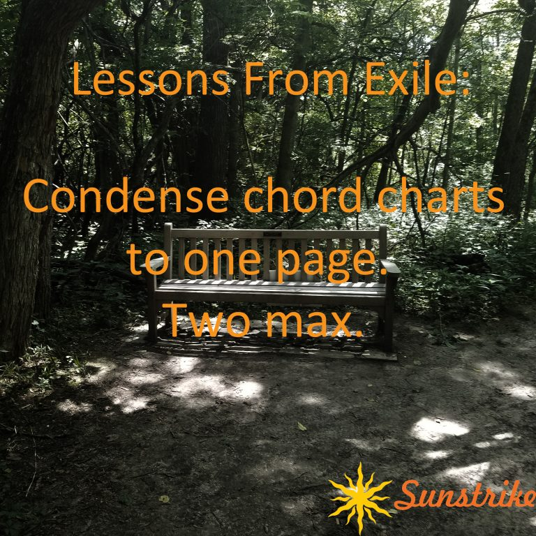 Lessons from Exile #2: Condense chord charts