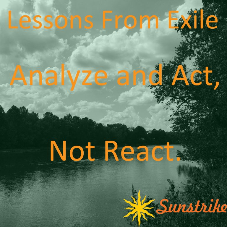 Lessons from Exile #58: Analyze and Act. Not React.